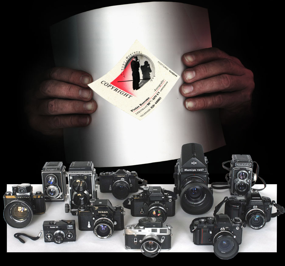 photograph of all cameras owned by Pieter Boersma